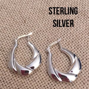 Sterling Silver Flat Hoop Earrings